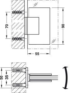 Bản Lề Kính Tường 90º Hafele 981.00.503