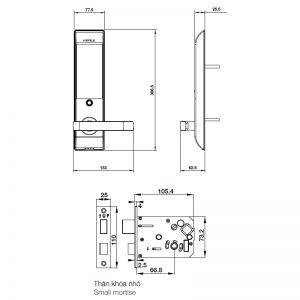 Khóa Điện Tử Thân Nhỏ EL7900-TCB Hafele 912.05.646