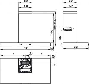 Máy Hút Mùi Gắn Tường HH-WI90B Hafele 539.81.175