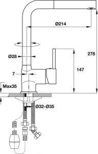 Vòi Rửa HT19-CH1P280 Hafele 570.51.280