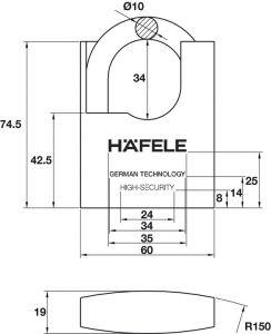 Khóa Treo Chốt Cắt Super 60mm Hafele 482.01.949
