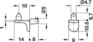 Bas Đỡ Kệ Cho Lỗ Khoan Ø5mm Hafele 282.24.720