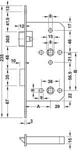 Thân Khóa Cho Phòng Tắm C/C 78mm Hafele 911.02.158