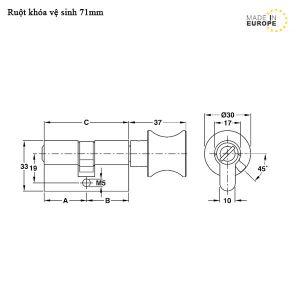 Ruột Khóa Cửa Vệ Sinh 71mm Hafele 916.08.525