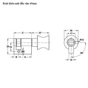 Ruột Khóa 1 Đầu Vặn 40mm Hafele 916.64.033