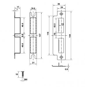 Thân Khóa Lưỡi Gà Chốt Chết C/C58mm Bauma 911.25.561
