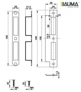 Thân Khóa Lưỡi Gà Chốt Chết C/C 85mm Bauma 911.25.564