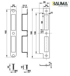 Thân Khóa Lưỡi Gà Chốt Chết C/C85mm Hafele 911.25.565