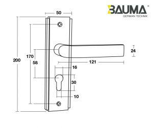Tay Nắm Đế Dài BM055-58 C/C 58mm Bauma 905.99.088