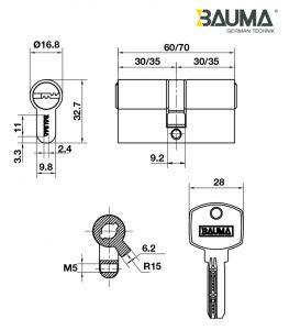 Ruột Khóa 2 Đầu Chìa 60mm Bauma 916.87.824