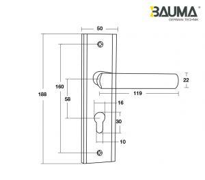 Tay Nắm Đế Dài BM066-58 C/C 58mm Bauma 905.99.091