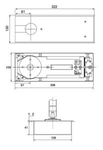 Bản Lề Sàn 100 - 120Kg Inox Mờ Imundex 708.16.120