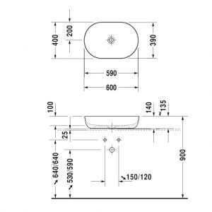 Chậu Rửa Lavabo Đặt Bàn Luv Duravit 588.45.181