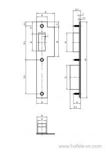Thân Khóa Lưỡi Gà C/C 72mm Hafele 911.25.101