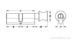 Ruột Khóa Nhà Vệ Sinh 66mm Hafele 916.64.292