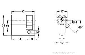 Ruột Khóa 1 Đầu Chìa 45mm Hafele 916.63.363