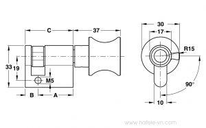 Ruột Khóa 1 Đầu Vặn 45mm Màu Đen Hafele 916.64.035