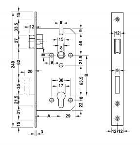 Thân Khóa Lưỡi Gà Chốt Chết C/C 85mm Hafele 911.02.069