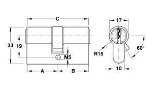 Ruột Khóa 2 Đầu Chìa 90mm Hafele 916.96.041