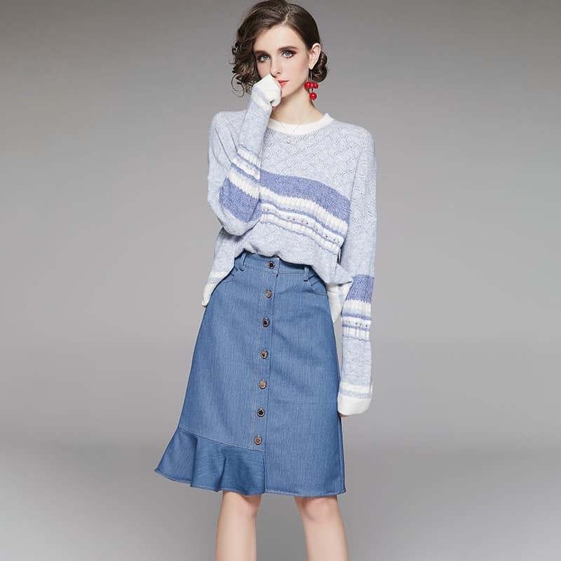 2020604 - Set áo len và chân váy mùa thu hàng nhập - giá 1.670k