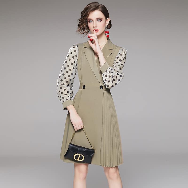 2020104 - Đầm xòe xếp ly nữ cao cấp hàng nhập - giá 1.520k