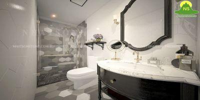 Không gian phòng tắm cùng bàn đá tự nhiên lavabo