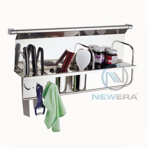 Giá inox cài dao, đũa, gia vị NewEra treo tủ giữa rộng 700mm