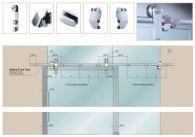 Phụ kiện cửa trượt lùa NewEra 2 cánh kính 8-12mm, inox 304, tải trọng 150kg/cánh