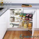 Kệ góc xoay liên hoàn giảm chấn NewEra đáy melamin dùng cho tủ góc