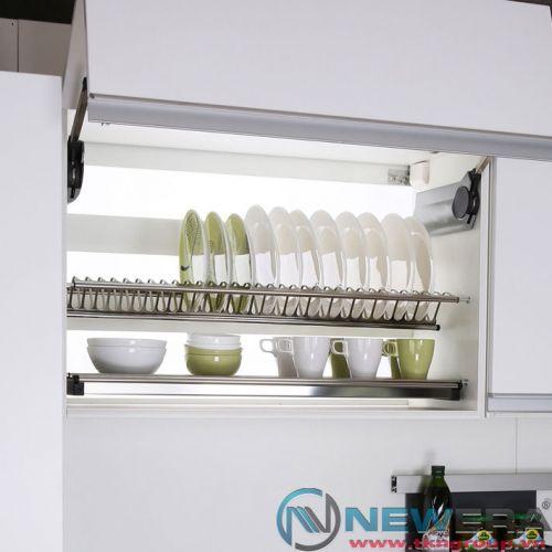 Giá treo úp bát đĩa NewEra inox 2 tầng tủ trên rộng 900mm