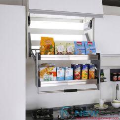 Giá kéo để đa năng di động 2 tầng, inox 304 lắp tủ bếp trên với khoang 900mm