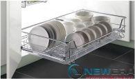 Giá để bát đĩa ray âm giảm chấn NewEra cánh mở có khay hứng nước, rộng 900mm