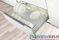 Giá để bát đĩa ray âm giảm chấn newera cánh kéo có khay hứng nước, rộng 900mm
