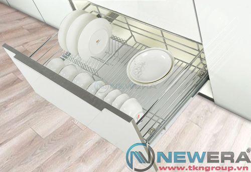 Kệ ngăn kéo ray âm giảm chấn đựng bát đĩa newera cánh kéo có khay hứng nước, rộng 600mm