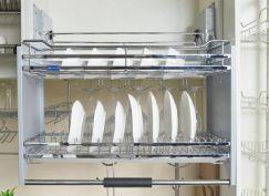 Giá úp bát đĩa nâng hạ 2 tầng inox 304, rộng 800mm NE344.800