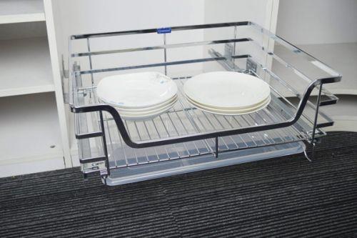 Giá để bát đĩa xoong nồi tủ dưới cánh mở giảm chấn gắn liền