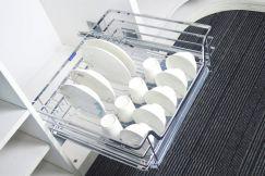 Giá để bát đĩa cánh mở nan dẹt inox hộp 304 có khay hứng nước