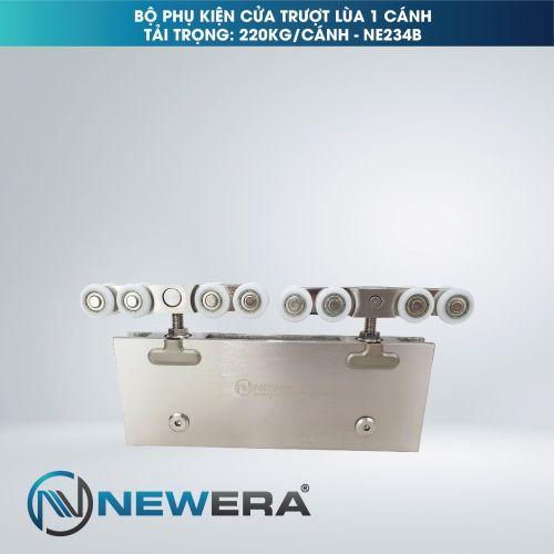 Phụ kiện cửa trượt lùa NewEra 1 cánh kính 8-12mm, tải trọng 220kg/cánh