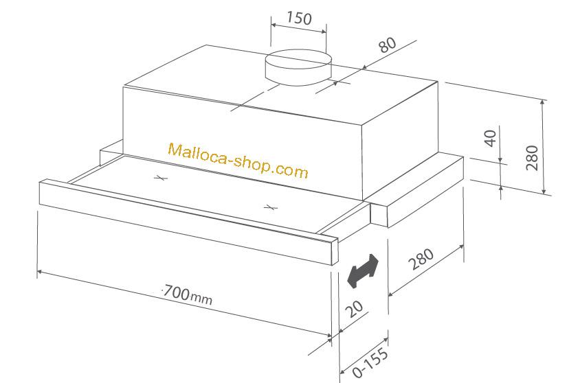 kích thước máy hút malloca h204.7