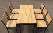 bàn ghế nhà hàng khung sắt 1 bàn 6 ghế