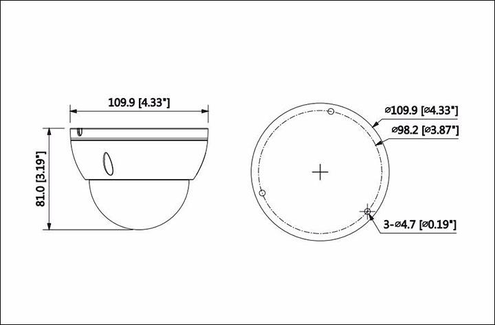 Bản vẽ mô tả kích thước camera IPC - 1230DMM