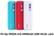 Pin Sạc Proda LCD 10000mAh JANE V6i đỏ xanh