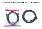 Cáp Micro B USB Unitek 2m Y-C463GBK