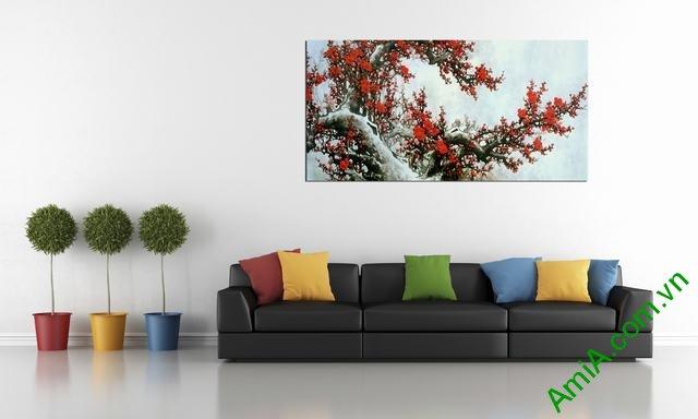 Tranh hoa đào đẹp khổ 1m2 AmiA 372
