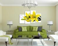 Tranh hoa ly vàng kiểu tranh đồng hồ ghép bộ nghệ thuật
