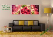 Tranh treo phòng ngủ hoa hồng ghép bộ 3 tấm AmiA 488