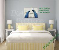Tranh đôi chim công tình yêu trang trí phòng ngủ vợ chồng AmiA 417