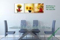 Tranh trang trí hoa hướng dương bộ 3 tấm AmiA 525