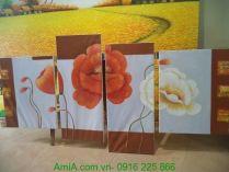 TSD125 - Mẫu tranh sơn dầu đẹp hoa poppy ghép bộ 4 tấm