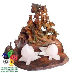 Đĩa quả đục chim hoa gỗ trắc